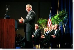 President George W. Bush speaks during the presentation of the 2003 Malcom Baldrige National Quality Award in Arlington, Va., Tuesday, March 9, 2003. The award in the highest honor for performance given by the President to U.S. organizations.  White House photo by Paul Morse