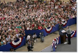 President George W. Bush addresses members of the West Virginia Air National Guard 167th Airlift Wing and their family members Wednesday, July 4, 2007, in Martinsburg, W. Va. White House photo by Chris Greenberg