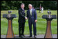 """President George W. Bush and British Prime Minister Gordon Brown stand together during their joint press availability Monday, July 30, 2007, at Camp David near Thurmont, Md. """"So everybody is wondering whether or not the Prime Minister and I were able to find common ground, to get along, to have a meaningful discussion. And the answer is, absolutely,"""" said President Bush. White House photo by Chris Greenberg"""