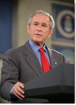 President George W. Bush addresses his remarks to military personnel and their family members, thanking them for their service, at a luncheon Tuesday, July 24, 2007, during the President's visit to Charleston AFB in Charleston, S.C. White House photo by Eric Draper