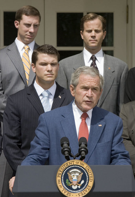 """President George W. Bush delivers a statement on the Global War on Terror in the Rose Garden Friday, July 20, 2007. """"It is time to rise above partisanship, stand behind our troops in the field, and give them everything they need to succeed,"""" announced the President. White House photo by Joyce N. Boghosian"""