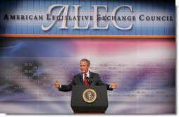 """President George W. Bush addresses the American Legislative Exchange Council Thursday, July 26, 2007, at the Philadelphia Marriott Downtown. The President urged the legislators to """"to not rely upon the latest opinion poll to tell you what to believe. I ask you to stand strong on your beliefs, and that will continue to make you a worthy public servant.""""  White House photo by Chris Greenberg"""