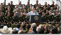 """President George W. Bush speaks on immigration reform during a stop Monday, April 9, 2007, in Yuma, Ariz. Said the President, """"I can't think of a better place to come and to talk about the good work that's being done and the important work that needs to be done in Washington, D.C., and that's right here in Yuma, Arizona, a place full of decent, hardworking, honorable people.""""  White House photo by Eric Draper"""