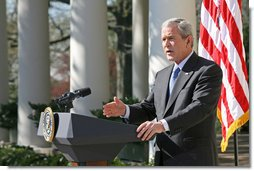 """President George W. Bush discusses the emergency supplemental bill with the press Tuesday, April 3, 2007, in the Rose Garden. """"Democrat leaders in Congress seem more interested in fighting political battles in Washington than in providing our troops what they need to fight the battles in Iraq,"""" said the President. """"If Democrat leaders in Congress are bent on making a political statement, then they need to send me this unacceptable bill as quickly as possible when they come back. I'll veto it, and then Congress can get down to the business of funding our troops without strings and without delay.""""  White House photo by Eric Draper"""