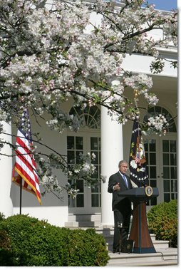 """President George W. Bush addresses the press Tuesday, April 3, 2007, in the Rose Garden. """"The reinforcements we've sent to Baghdad are having a impact. They're making a difference,"""" said the President. """"And as more of those reinforcements arrive in the months ahead, their impact will continue to grow. But to succeed in their mission, our troops need Congress to provide the resources, funds, and equipment they need to fight our enemies.""""  White House photo by David Bohrer"""