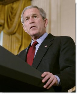 President George W. Bush addresses his remarks on the Iraq War supplemental spending bill in the East Room at the White House, Monday, April 16, 2007, urging Congress to pass an emergency war spending bill, without strings and without further delay.  White House photo by Eric Draper