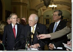 Vice President Dick Cheney comments on the war in Iraq Tuesday, April 24, 2007 at the U.S. Capitol. Standing with the Vice President is Senate Minority Leader Mitch McConnell, R-KY, left, and Senator Trent Lott, R-MS. White House photo by Joyce N. Boghosian
