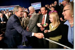 President George W. Bush greets the crowd after remarks on the Global War on Terror in Louisville, Kentucky, Wednesday, Jan. 11, 2006. White House photo by Eric Draper