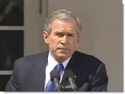 """President George W. Bush Thursday said, """"Conflict is not inevitable. Distrust need not be permanent. Peace is possible when we break free of old patterns and habits of hatred."""" White House screen capture by Monty Haymes."""