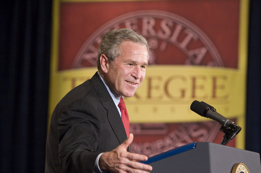 President George W. Bush remarks from the podium during a visit Wednesday, April 19, 2006, to Tuskegee, Ala., where he spoke on the American Competitiveness Initiative. White House photo by Paul Morse