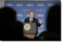 """President George W. Bush addresses the Small Business Week Conference in Washington, D.C., Thursday, April 13, 2006. """"Small businesses create two out of every three new jobs. And they account for nearly half of the country's overall employment,"""" said the President in his remarks.  White House photo by Paul Morse"""