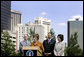 Mrs. Laura Bush, flanked by Mark Sanders, GM of Marriott Hotels, Marc Morial, President and CEO of the National Urban League, and Labor Secretary Elaine Chao, announces a $20 million dollar grant to the National Urban League in New Orleans, La., Monday, April 10, 2006, for their Youth Empowerment program to help at-risk youth find stable employment, as part of the Helping America's Youth initiative. White House photo by Shealah Craighead