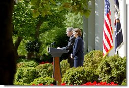 "President George W. Bush announces the nomination of Susan Schwab as the U.S. Trade Representative in the Rose Garden Tuesday, April 18, 2006. ""Ambassador Schwab started her career as an agricultural trade negotiator in the Office of the U.S. Trade Representative, and she served our nation overseas as a trade policy officer in our embassy in Tokyo,"" said President Bush. ""In the 1980s, she worked as a trade specialist, and then legislative director for Senator Jack Danforth, who chaired a key Senate subcommittee on trade. In the administration of former President Bush, she led a staff of more than a thousand as Director General of the U.S. and Foreign Commercial Service. Susan has also served as an executive in the private sector at Motorola, and as a professional administrator at the University of Maryland.""  White House photo by Julie Kubal"