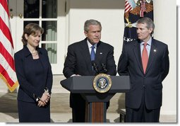 President George W. Bush announces the nomination of Rob Portman as Director of the Office of Management and Budget and Susan Schwab as the U.S. Trade Representative in the Rose Garden Tuesday, April 18, 2006.  White House photo by Paul Morse