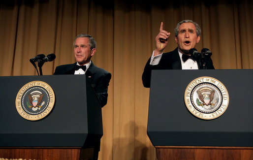 President George W. Bush and comedian Steve Bridges have a little fun at the White House Correspondents' Association Dinner at the Washington Hilton Hotel in Washington, D.C., April 29, 2006. White House photo by Kimberlee Hewitt