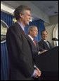 President George W. Bush and outgoing Press Secretary Scott McClellan introduces the new White House Press Secretary, Tony Snow, to the press in the James S. Brady Press Briefing Room Wednesday, April 26, 2006. White House photo by Eric Draper