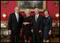President George W. Bush and Laura Bush welcome retired U.S. Supreme Court Justice Sandra Day O'Connor and her husband John J. O'Connor to the White House, Wednesday evening, April 12, 2006, for a retirement dinner in honor of Justice O'Connor. White House photo by Paul Morse