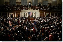 """President George W. Bush delivers his State of the Union Address to the nation and a joint session of Congress in the House Chamber of the U.S. Capitol Tuesday, Jan. 20, 2004. """"We must continue to pursue an aggressive, pro-growth economic agenda. Congress has some unfinished business on the issue of taxes,"""" said the President, calling on Congress to make the tax cuts permanent.  White House photo by Paul Morse"""