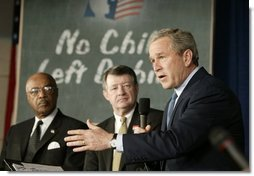 Celebrating the second anniversary of the No Child Left Behind Act, President George W. Bush visits West View Elementary School in Knoxville, Tenn., Jan. 8, 2004. The elementary school serves 237 students. In the past 2 years, the students have made significant improvements on reading and math test scores.  White House photo by Paul Morse