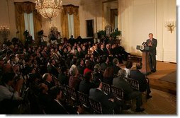 President George W. Bush discusses the achievements of Hispanic Americans during a celebration of Hispanic Heritage Month in the East Room of the White House Wednesday, Sept. 15, 2004.  White House photo by Joyce Naltchayan