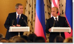 President George W. Bush and Russian President Vladimir Putin during their press conference at the Kremlin in Moscow, Russia on May 24, 2002. White House photo by Paul Morse.