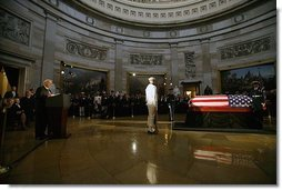 Vice President Dick Cheney delivers the eulogy for former President Ronald Reagan during the State Funeral Ceremony in the Rotunda of the U.S. Capitol Wednesday, June 9, 2004.  White House photo by David Bohrer