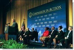 President George W. Bush discusses the progress and accomplishments of the Faith-Based and Community Initiatives in Washington, D.C., Tuesday, June 1, 2004.  White House photo by Joyce Naltchayan