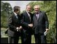 President George W. Bush joins Prime Minister of Ireland Bertie Ahern, right, and President of the European Commission Romano Prodi following their press conference at the Dromoland Castle in Shannon, Ireland, Saturday, June 26, 2004. White House photo by Eric Draper