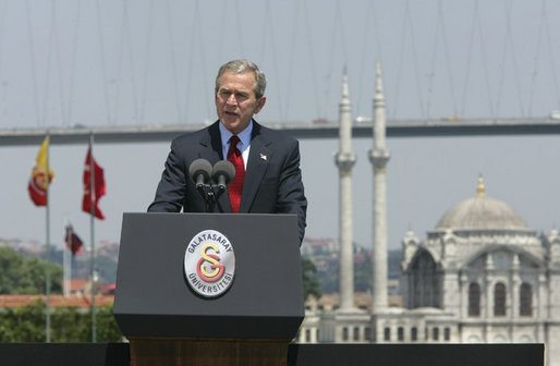 President George W. Bush delivers remarks at Galatasaray University, Tuesday, June 29, 2004. White House photo by Eric Draper.