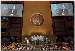 """President George W. Bush addresses the United Nations General Assembly Nov. 10. """"We're asking for a comprehensive commitment to this fight. We must unite in opposing all terrorists, not just some of them,"""" said the President in his remarks. White House photo by Paul Morse."""