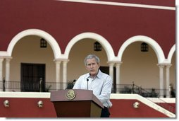 """President George W. Bush delivers a statement during arrival ceremonies Tuesday, March 13, 2007, at Hacienda Temozon in Temozon Sur, Mexico. Said the President, """"The United States and Mexico are partners. We're partners in building a safer, more democratic and more prosperous hemisphere. And a strong relationship between our countries is based upon mutual trust and mutual respect."""" White House photo by Paul Morse"""