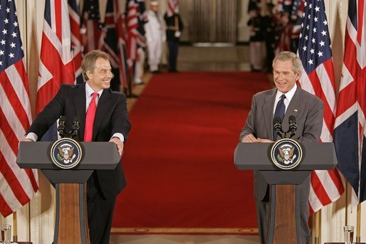 """President George W. Bush and British Prime Minister Tony Blair hold a joint press conference in the East Room Tuesday, June 7, 2005. """"Prime Minister Blair and I share a common vision of a world that is free, prosperous, and at peace,"""" said President Bush. """"When men and women are free to choose their own governments, to speak their minds, and to pursue a good life for their families, they build a strong, prosperous and just society."""" White House photo by Paul Morse"""