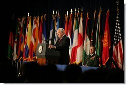 """Vice President Dick Cheney speaks during the closing ceremonies of U.S. Special Operations Command's International Special Forces Week in Tampa, Fla., Friday, June 10, 2005. """"I see regular evidence of your unparalleled skill, your ingenuity, and your daring. Every single day SOCOM confirms its reputation as a small command that produces big results for the United States of America,"""" said Vice President Cheney.  White House photo by David Bohrer"""