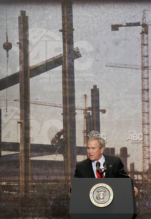 """During his address to the Associated Builders and Contractors, President George W. Bush discusses Social Security in Washington, D.C., Wednesday, June 8, 2005. """"I think the best way to make sure that people have got real assets in the Social Security system, not just IOUs in a file cabinet, is to let younger workers take some of their own money, if they so choose, a voluntary program, and set up a personal savings account,"""" said the President. White House photo by Paul Morse"""