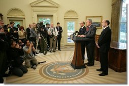 "President George W. Bush is joined by Alan Greenspan, left, Chairman of the Federal Reserve, as he announces his nomination Monday, Oct. 24, 2005, of Ben Bernanke, right, as the new Chairman, to replace Mr. Greenspan when he retires in January. Said the President, ""Ben Bernanke is the right man to build on the record Alan Greenspan has established.  White House photo by Paul Morse"