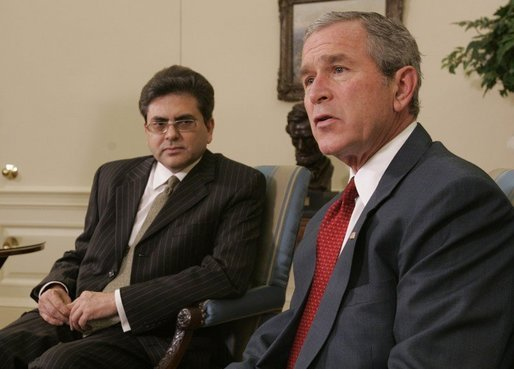 President George W. Bush meets with Pakistan's Deputy Chief of Mission, Mohammad Sadiq, Sunday, Oct. 9, 2005 in the Oval Office at the White House, to express condolences on the tragedy of the earthquake which struck Pakistan and other areas of Asia, and to pledge the support of United States aid in the recovery of the region. White House photo by Paul Morse