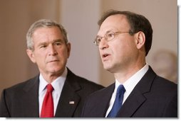 With President George W. Bush looking on, Judge Samuel A. Alito acknowledges his nomination Monday, Oct. 31, 2005, as Associate Justice of the U.S. Supreme Court.  White House photo by Paul Morse