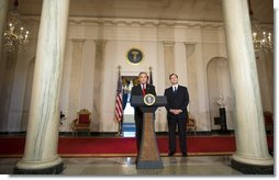 """President George W. Bush announces his nomination Monday, Oct. 31, 2005, of Judge Samuel A. Alito, Jr., as Associate Justice of the Supreme Court of the United States. In making his announcement, President Bush said, """"Judge Alito is one of the most accomplished and respected judges in America, and his long career in public service has given him an extraordinary breadth of experience.""""  White House photo by Paul Morse"""