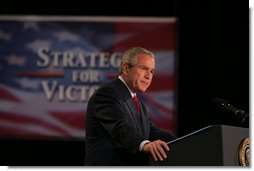 President George W. Bush addresses an audience Friday, Oct. 28, 2005 at Chrysler Hall in Norfolk, Va., speaking on the successes and challenges in fighting the war on terror.  White House photo by Paul Morse