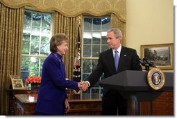 President George W. Bush nominates White House Counsel Harriet Miers as Supreme Court Justice during a statement from the Oval Office on Monday October 3, 2005.  White House photo by Paul Morse