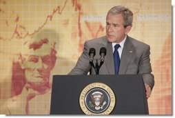 President George W. Bush addresses an audience at the Economic Club of Washington, D.C., Wednesday, Oct. 26, 2005. President Bush is the first President to address the Economic Club, which was formed in 1986. White House photo by Paul Morse