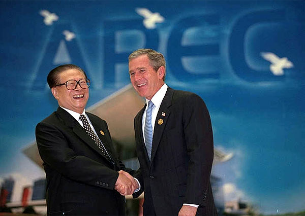 """""""This is our first meeting, and we have had an in-depth exchange of views and reached a series of consensus with respect to such major issues as Sino-U.S. relations, counterterrorism, and maintenance of world peace and stability,"""" said President Jiang during the two Presidents' joint press conference Oct. 19. Photo by Paul Morse."""