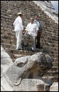 President George W. Bush stands with President Vicente Fox of Mexico, left, and Canada's Prime Minister Stephen Harper, during a visit Thursday, March 30, 2006, to the Chichen-Itza Archaeological Ruins. White House photo by Kimberlee Hewitt