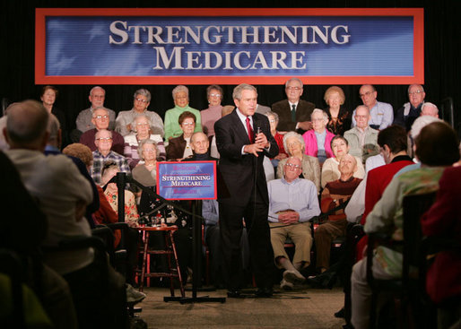 President George W. Bush addresses his remarks on the Medicare Prescription Drug Benefit to an audience at the Riderwood Villiage retirement community, Wednesday, March 15, 2006 in Silver Spring, Md. White House photo by Paul Morse