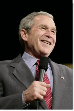 President George W. Bush reacts to a question from the audience following his remarks on the global war on terror Wednesday, March 22, 2006 at the Capitol Music Hall in Wheeling, W. Va.  White House photo by Eric Draper