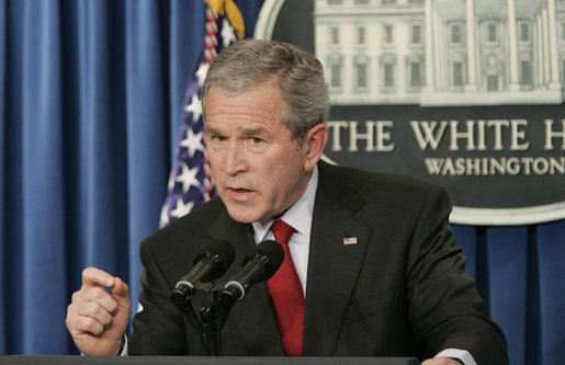 In his second press conference of the year, President George W. Bush answers reporters questions, Tuesday morning, March 21, 2006, during a news briefing at the White House. White House photo by Paul Morse