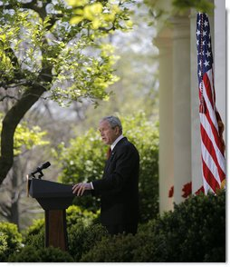 """President George W. Bush speaks on climate change during remarks from the Rose Garden Wednesday, April 16, 2008, at the White House. Said the President, """"I'm confident that with sensible and balanced policies from Washington, American innovators and entrepreneurs will pioneer a new generation of technology that improves our environment, strengthens our economy, and continues to amaze the world."""" White House photo by Noah Rabinowitz"""