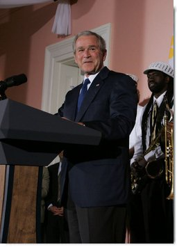 President George W. Bush addresses his remarks at the U.S. Chamber of Commerce reception Monday evening, April 21, 2008, prior to attending the 2008 North American Leaders' Summit dinner in New Orleans. White House photo by Joyce N. Boghosian