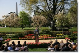 President George W. Bush addresses recipients of the President's Environmental Youth Awards during a ceremony Thursday, April 17, 2008, in the Rose Garden of the White House. Established in 1971, the awards recognize students from grades K-12 who have led environmental efforts in their communities. The awards are administered by the Environmental Protection Agency (EPA), and each of the EPA's 10 regional offices selects a winner or group of winners. White House photo by Shealah Craighead