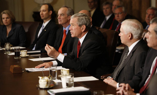 President George W. Bush makes a statement to the media after his Cabinet meeting Monday, April 14, 2008, at the White House. The President recapped the meeting, saying the Cabinet discussed a variety of subjects including tax cuts, free trade agreements and legislation for beach monitoring and landscape conservation. White House photo by Eric Draper